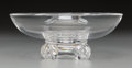 Art Glass:Steuben, A Steuben Clear Glass Footed Bowl, Corning, New York, late 20thcentury. Marks: Steuben. 3 inches high x 7-3/4 inches di...
