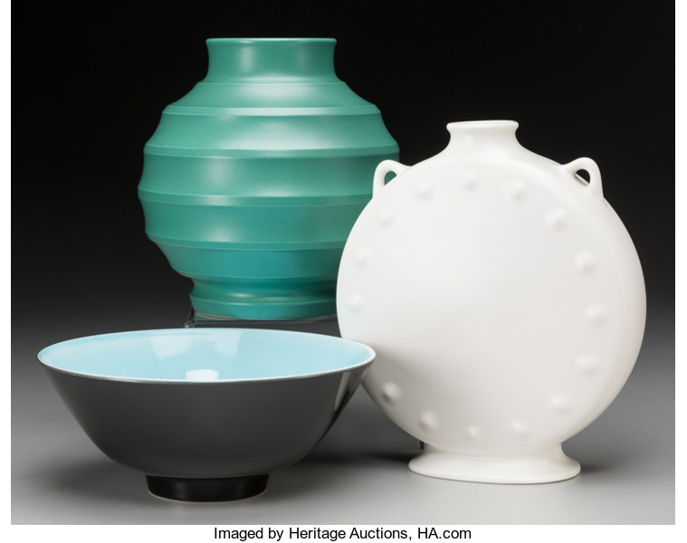 A Wedgwood Pilgrim Flask Vase And Bowl Designed By Norman Lot