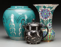 Ceramics & Porcelain, British:Modern  (1900 1949)  , A Wedgwood Creamer Designed by Alfred & Louise Powell with TwoAssociated Lustreware Vases. Wedgwood, Burslem (Stoke-on-Tren...(Total: 3 Items)