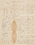 Autographs:U.S. Presidents, A Highly Important Abraham Lincoln Letter to His First Fiancée, Mary Owens....