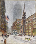 Fine Art - Painting, American, GUY CARLETON WIGGINS (American 1883-1962). Broadway lookingnorth. Oil on canvas. 22 x 18 inches (55.9 x 45.7 cm). S...