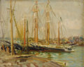 Fine Art - Painting, American:Modern  (1900 1949)  , MARY (LOUISE FAIRCHILD) MACMONNIES LOW (American 1866-1946).Docked Sailboats, circa 1909-1946. Oil on canvas laid onar...