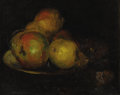 Fine Art - Painting, American, Attributed to FRANK DUVENECK (American 1848-1919). Still Lifewith Apples. Oil on artist's board. 8-1/2 x 10-1/2 inc...