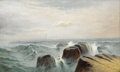 Fine Art - Painting, European, COLIN HUNTER (Scottish 1841-1904). Rocky Seascape. Oil oncanvas. 18 x 30 inches (45.7 x 76.2 cm). Signed lower leftC...
