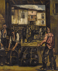 JOSÉ GUTIÉRREZ SOLANA (Spanish 1886-1945) Los Trabajadores (The Wine Loaders), circa 1930 Oil on lin