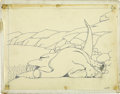 animation art:Production Cel, Winsor McCay - Gertie the Dinosaur Animation Drawing Original Art(1914)....