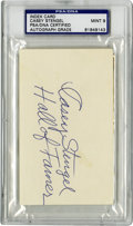 Autographs:Index Cards, Casey Stengel Signed Index Card, PSA Mint 9. The Ol' Perfesser shows justifiable pride in his Cooperstown residence, adding...