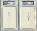 Autographs:Index Cards, Joe Medwick Signed Index Cards, PSA-Authentic Lot of 2. The Hall of Fame outfielder for the 1934 World Championship St. Lo...