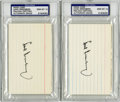 Autographs:Index Cards, Hank Greenberg Signed Index Cards, PSA Gem Mint 10 Lot of 2.Looking for finer examples of the Detroit Tigers slugger's au...
