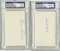 Autographs:Index Cards, Chick Hafey & Ernie Lombardi PSA-Graded Index Cards. Bold blueballpoint ink signatures from these celebrated Hall of Famer...