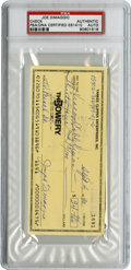 Autographs:Checks, 1990 Joe DiMaggio Signed Check, PSA Authentic. Tough personal checkfrom this iconic Yankee kept HBO and ESPN running at th...