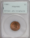 Indian Cents, 1881 1C MS65 Red PCGS....