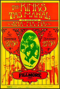 """The Kinks with Taj Mahal at The Fillmore West (Bill Graham, 1969). Concert Window Card (14"""" X 21.25""""). Rock an..."""