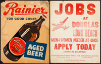 """Rainier Aged Beer & Other Lot (Rainier Brewing Company, Late 1930s). Posters (2) (Approx. 21"""" X 27""""). Misc..."""