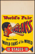 """Movie Posters:Miscellaneous, World's Fair (1940s). Window Card (14"""" X 22"""") """"Freaks."""" Miscellaneous.. ..."""