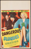 """Movie Posters:Crime, Dangerous Blondes (Columbia, 1943). Window Card (14"""" X 22"""").Crime.. ..."""