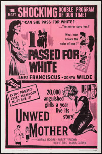 """I Passed for White/Unwed Mother Combo (Allied Artists, R-1965). One Sheet (27"""" X 41""""). Exploitation"""