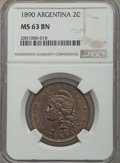 Argentina, Argentina: Republic 2 Centavos 1890 MS63 Brown NGC,...