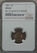 Seated Dimes: , 1885 10C MS64+ NGC. Ex: Rev. Dr. James G. K. McClure. NGC Census: (95/123 and 3/2+). PCGS Population (90/87 and 1/7+). Mint...