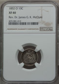 Seated Dimes: , 1852-O 10C XF40 NGC. Ex: Rev. Dr. James G. K. McClure. NGC Census: (2/46). PCGS Population (11/42). Mintage: 430,000. CDN W...