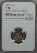 Seated Dimes: , 1852-O 10C VF30 NGC. Ex: Rev. Dr. James G. K. McClure. NGC Census: (1/51). PCGS Population (10/58). Mintage: 430,000. ...