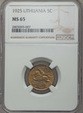 Lithuania, Lithuania: Republic 5 Centai 1925 MS65 NGC,...