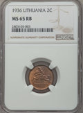 Lithuania, Lithuania: Republic 2 Centai 1936 MS65 Red and Brown NGC,...