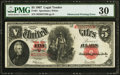 Error Notes:Large Size Errors, Fr. 91 $5 1907 Legal Tender PMG Very Fine 30.. ...
