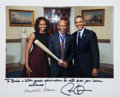 Baseball Collectibles:Photos, 2014 Barack & Michelle Obama Signed Photograph to Ernie Banks....