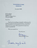 Baseball Collectibles:Others, 2011 Hillary Rodman Clinton Signed Letter to Ernie Banks. ...