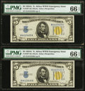 Small Size:World War II Emergency Notes, Fr. 2307 $5 1934A North Africa Silver Certificates. Two Consecutive Examples. PMG Gem Uncirculated 66 EPQ.. ... (Total: 2 notes)