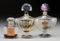 Art Glass:Other , Three Baccarat Glass Perfume Bottles: Shalimar by Guerlain& le Gardenia by Corday, circa 1925. Mark... (Total: 3Items)
