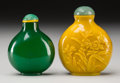 Asian:Chinese, Two Chinese Glass Snuff Bottles. 3 inches high (7.6 cm) (taller).... (Total: 2 Items)