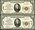National Bank Notes:Tennessee, Shelbyville, TN - $20 1929 Ty. 1 The Farmers NB Ch. # 10785, TwoExamples.. ... (Total: 2 notes)