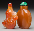 Other, Two Chinese Carved Agate Snuff Bottles. 3 inches high (7.6 cm). ... (Total: 2 Items)