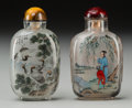 Asian:Chinese, Two Chinese Reverse Painted Glass Snuff Bottles. 3-1/8 inches high(7.9 cm). ... (Total: 2 Items)