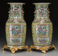 Asian:Chinese, A Pair of Chinese Rose Canton Porcelain and Gilt Bronze-MountedVases, late 19th-early 20th century. 19-1/2 inches high (49....(Total: 2 Items)