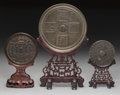 Asian:Chinese, Three Chinese Bronze Mirrors on Stands. 14-1/4 inches high (36.2cm) (tallest, including stand). ... (Total: 6 Items)