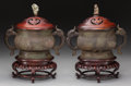 Asian:Chinese, A Pair of Chinese Archaic-Style Food Vessels on Stands. 15 incheshigh (38.1 cm) (vessel with lid and stand). ... (Total: 4 Items)