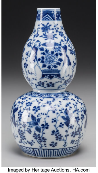 A Chinese Blue And White Porcelain Double Gourd Vase Marks Lot