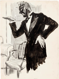 """James Montgomery Flagg Cosmopolitan Page 289 """"Thank You, Jeeves"""" Illustration Bertie Wooster Original Art (193..."""