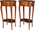 Furniture : French, A Pair of Louis XVI-Style Marquetry and Fruitwood Side Tables withGilt Bronze Mounts, early 20th century. 28-1/2 h x 16-1/2...(Total: 2 Items)