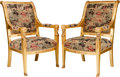 Furniture : French, A Pair of Empire-Style Giltwood Fauteuils with Gilt Bronze Mountsand Chinoiserie Motif Upholstery, early 20th century. 38-3...(Total: 2 Items)