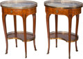 Furniture , A Pair of Louis XV-Style Gilt Bronze and Fruitwood Side Tables with Marble Tops, 19th century. 27 h x 20-1/8 w x 14-3/4 ... (Total: 2 Items)