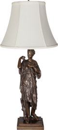 Decorative Arts, French:Lamps & Lighting, A French Neoclassical Patinated Bronze Figural Table Lamp, 19thcentury in part. Marks: REDUCTION MÉCHANIQUE A COLLAS BREV...(Total: 2 Items)