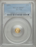 California Fractional Gold , 1871 25C Liberty Octagonal 25 Cents, BG-714, R.3, MS67 PCGS....