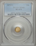 California Fractional Gold , 1872/1 25C Indian Round 25 Cents, BG-870, R.3, MS66 PCGS....