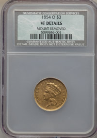 1854-O $3 -- Mount Removed -- NCS. VF Details. NGC Census: (3/818). PCGS Population (4/561). Mintage: 24,000. CDN Wsl. P...