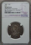Bust Quarters, 1821 25C B-4, R.3, -- Improperly Cleaned -- NGC Details. VG. Ex: Rev. Dr. James G. K. McClure. NGC Census: (1/13). PCGS Pop...