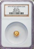 California Fractional Gold: , 1872 25C Indian Octagonal 25 Cents, BG-791, R.3, MS64 ProoflikeNGC. NGC Census: (15/23). ...